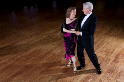 Senior couple ballroom dancing