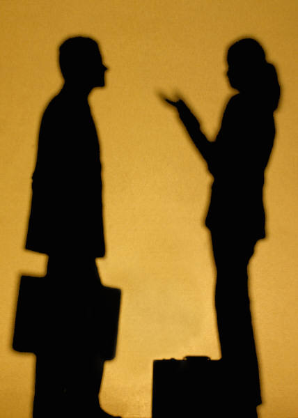 man-woman-talking-silhouette